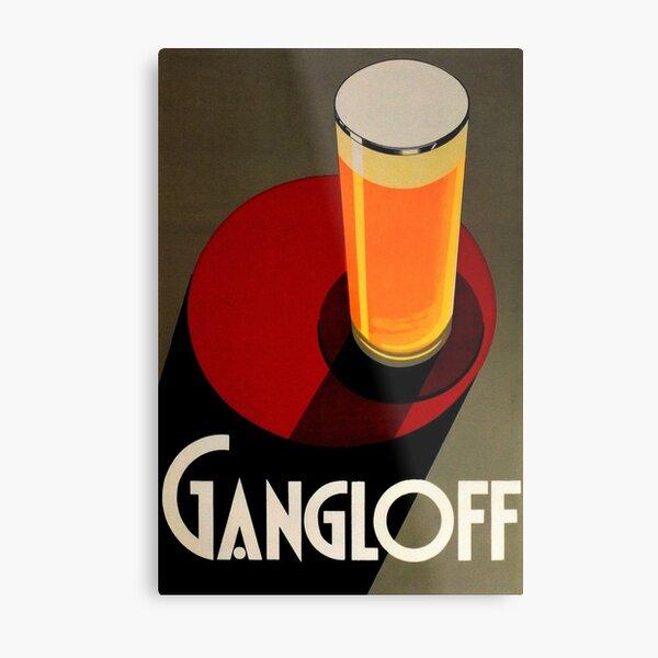 Vintage Red Gangloff Beer Big Glass Light Ale Lager Pilsen Advertising Poster Metal Print