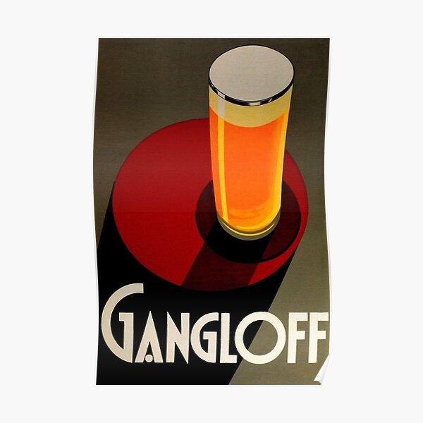 Vintage Red Gangloff Beer Big Glass Light Ale Lager Pilsen Advertising Poster Poster