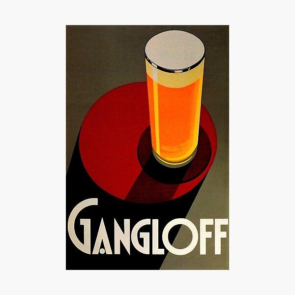 Vintage Red Gangloff Beer Big Glass Light Ale Lager Pilsen Advertising Poster Photographic Print