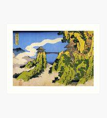'Temple Bridge' by Katsushika Hokusai (Reproduction) Art Print