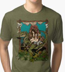 Dino Girl Volcano Tri-blend T-Shirt