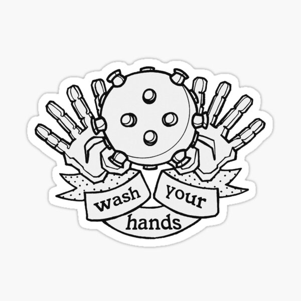 wash your hands (black and white) Sticker
