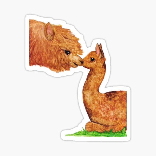 Mother and son alpaca Sticker