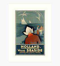 Art Deco Holland Seaside vintage travel advert Art Print