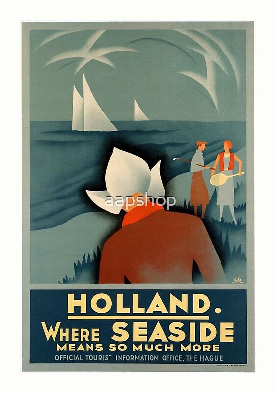Art Deco Holland Seaside Vintage Travel Advert Greeting