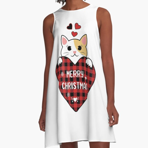 Merry christmas happy cat A-Line Dress