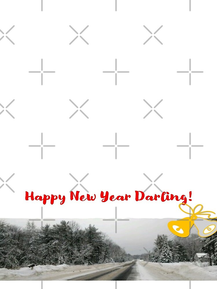 Happy New Year Darling! In red font.  White background with bells and a winter scene by Veee8