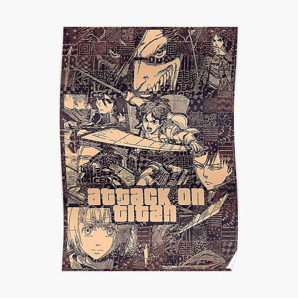 4K Collage Eren Mikasa Livai Armin de Shingeki no Kyojin Poster