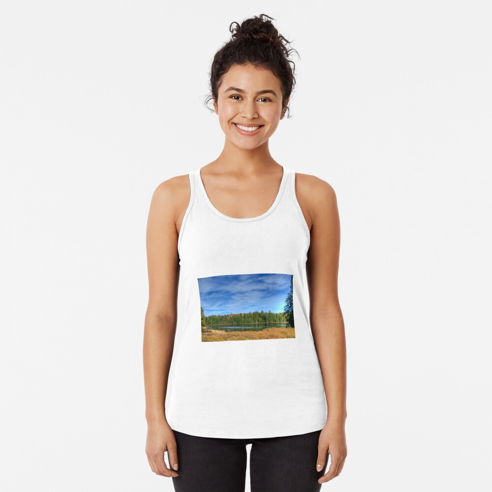 Forest under blue sky Racerback Tank Top