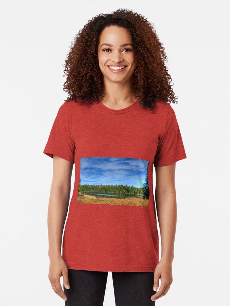 Alternate view of Forest under blue sky Tri-blend T-Shirt