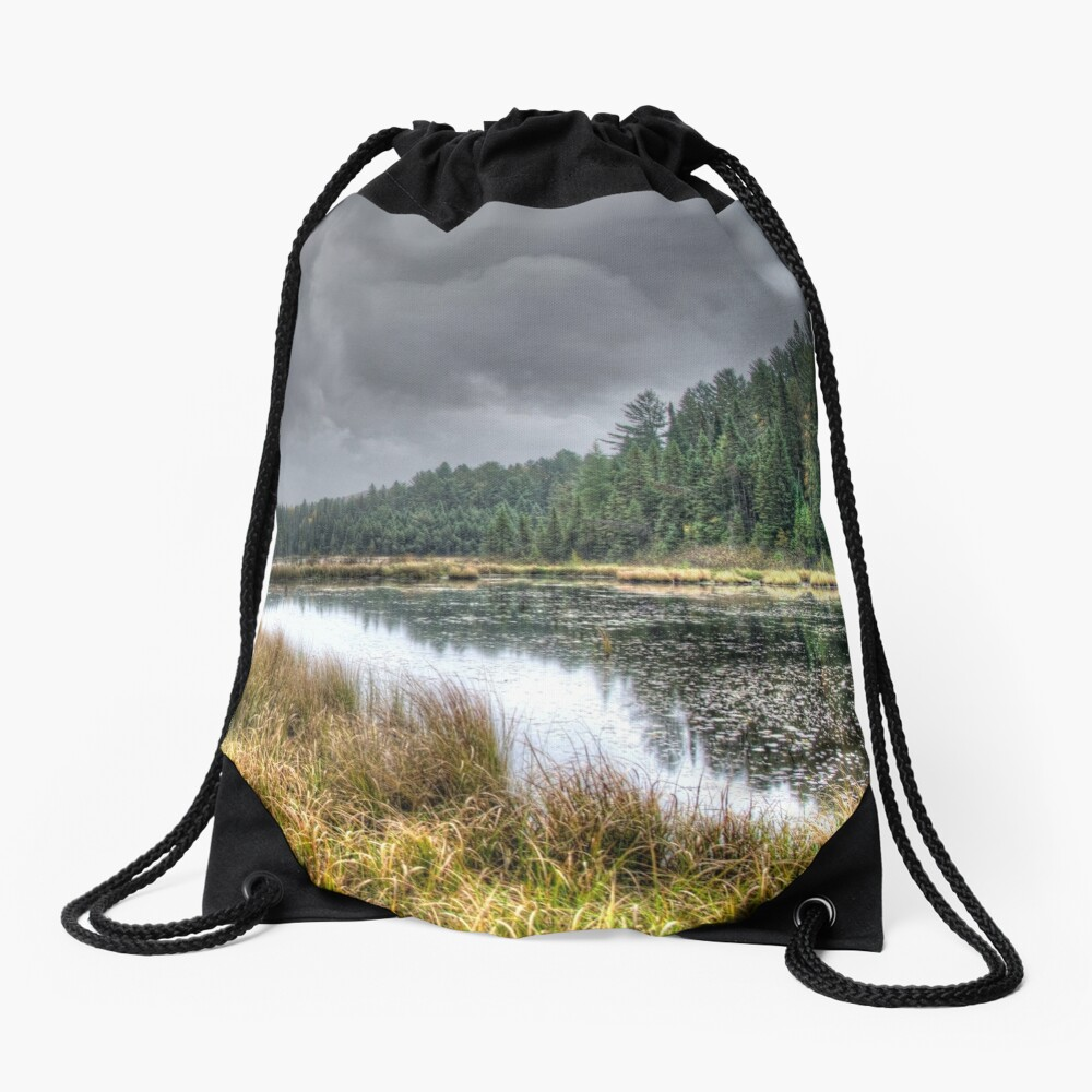 Clouds over the wetlands Drawstring Bag