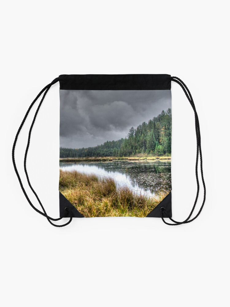 Alternate view of Clouds over the wetlands Drawstring Bag