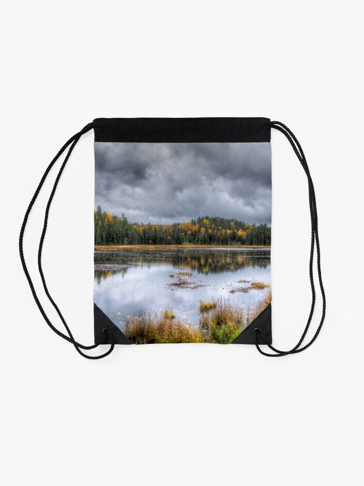 Alternate view of Overcast day over the pond Drawstring Bag