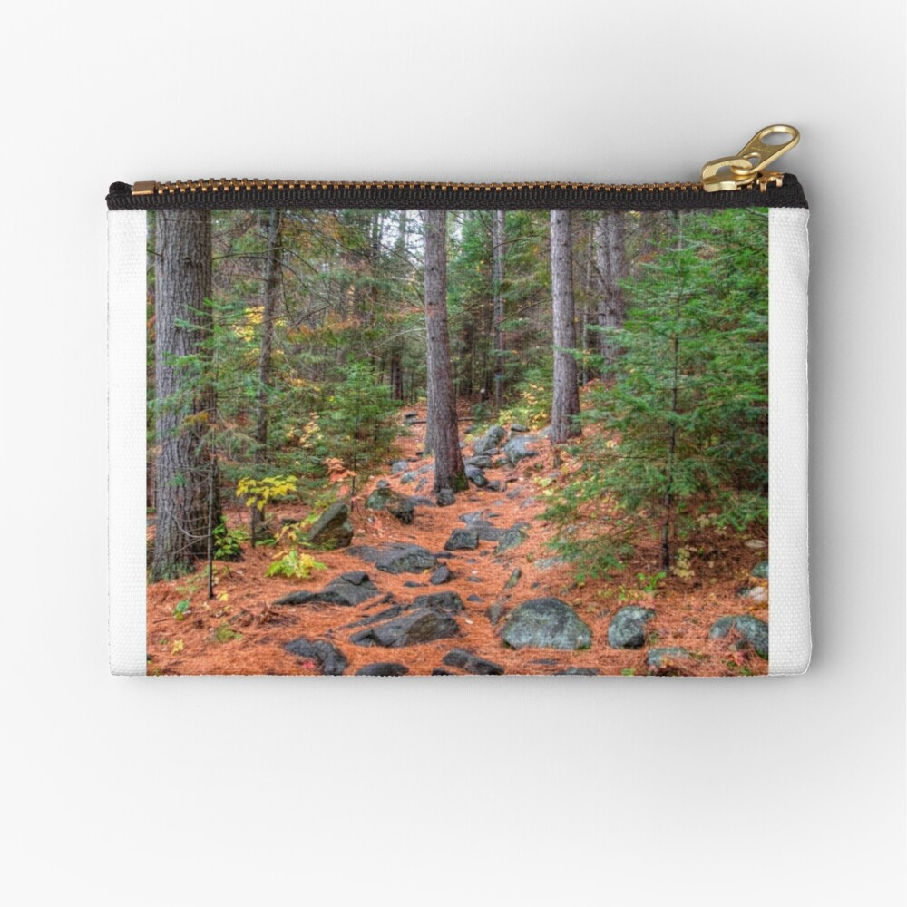 Rocky path through the pine forest Zipper Pouch