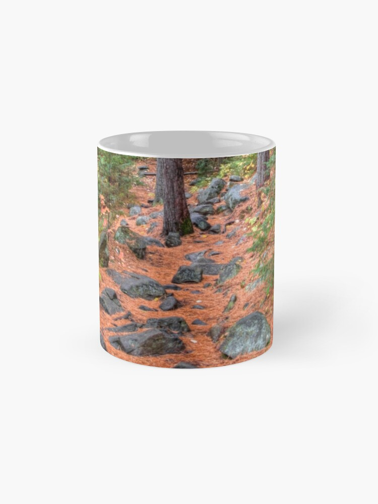 Alternate view of Rocky path through the pine forest Mug