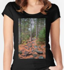 Rocky path through the pine forest Fitted Scoop T-Shirt