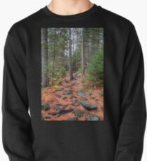 Rocky path through the pine forest Pullover Sweatshirt