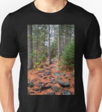 Rocky path through the pine forest Slim Fit T-Shirt