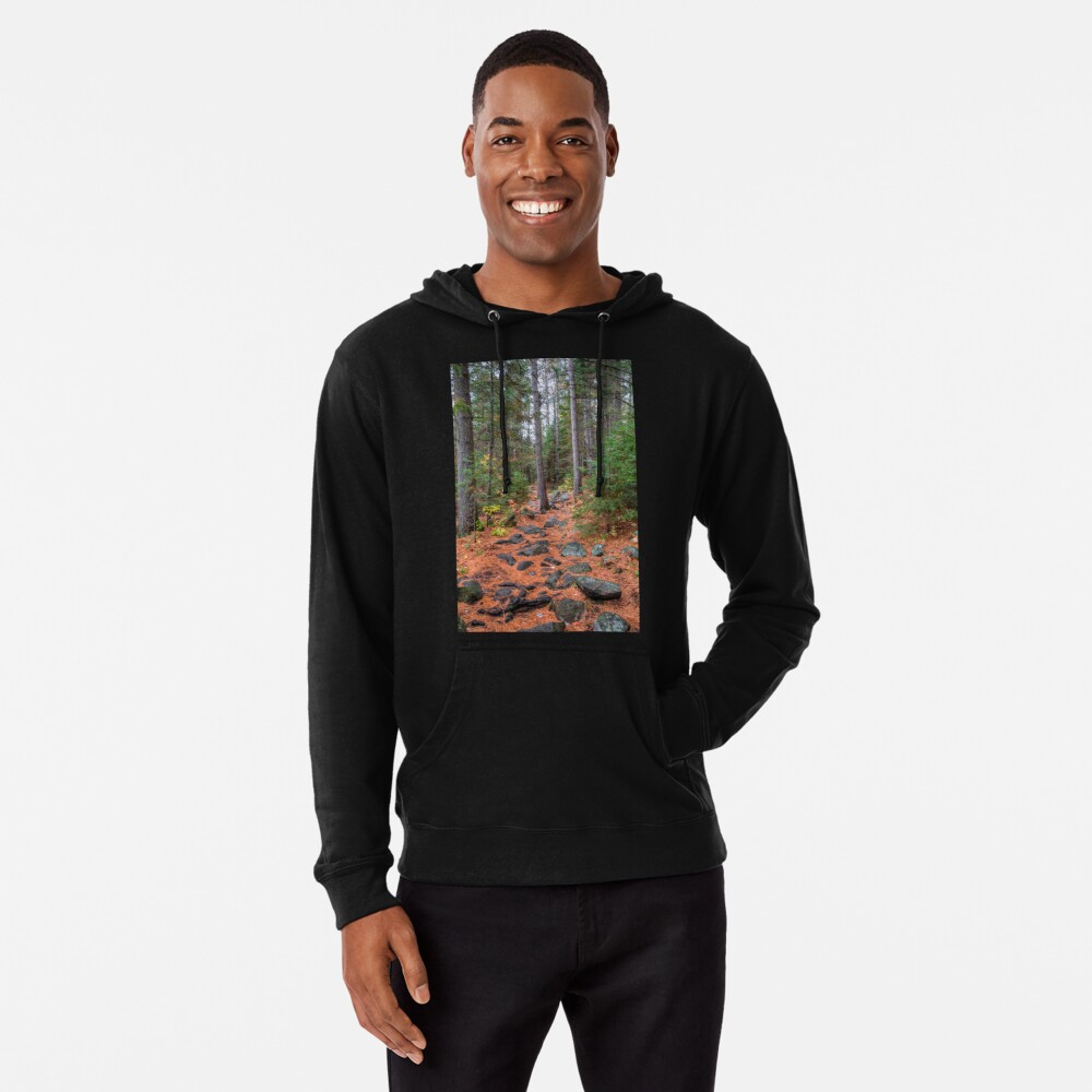 Rocky path through the pine forest Lightweight Hoodie