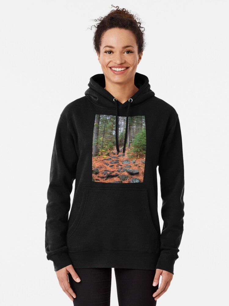 Alternate view of Rocky path through the pine forest Pullover Hoodie
