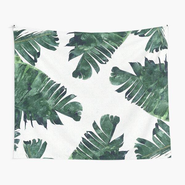 Banana Leaves Watercolor Painting, Tropical Botanical Jungle Nature Minimal Vibrant Modern Bohemian Illustration Tapestry