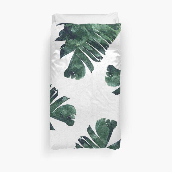 Banana Leaves Watercolor Painting, Tropical Botanical Jungle Nature Minimal Vibrant Modern Bohemian Illustration Duvet Cover