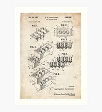 Lego Toy Blocks US Patent Art Art Print