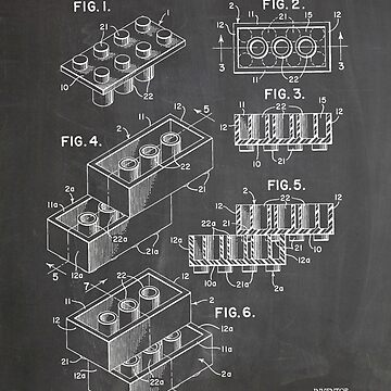 LEGO Construction Toy Blocks US Patent Art blackboard by geekuniverse