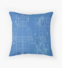 LEGO Minifigure US Patent Art Mini Figure blueprint Throw Pillow