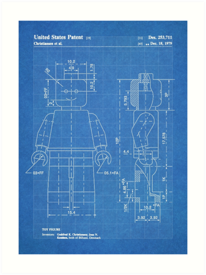 Lego minifigure us patent art mini figure blueprint art prints by lego minifigure us patent art mini figure blueprint by steve chambers malvernweather Image collections