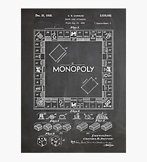 Monopoly Board Game US Patent Art 1935 Blackboard Photographic Print