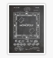 Monopoly Board Game US Patent Art 1935 Blackboard Sticker