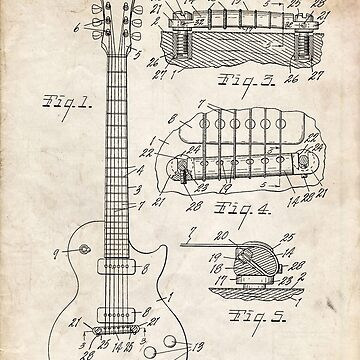 Gibson Les Paul Guitar US Patent Art 1955 by geekuniverse