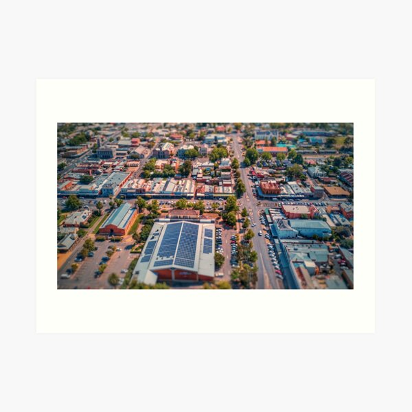 Castlemaine Business District - CBD - Aerial View of Town Art Print