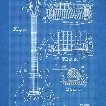 Gibson Les Paul  guitar us patent 1955 by geekuniverse