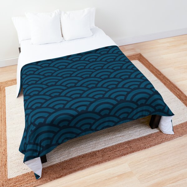 Seigaiha Japanese Wave Pattern - Japan Blue and Navy Comforter
