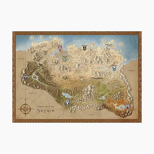 Tamriel - Skyrim Map Photographic Print