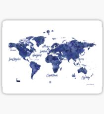 Midnight color world map Jules Verne ed Sticker