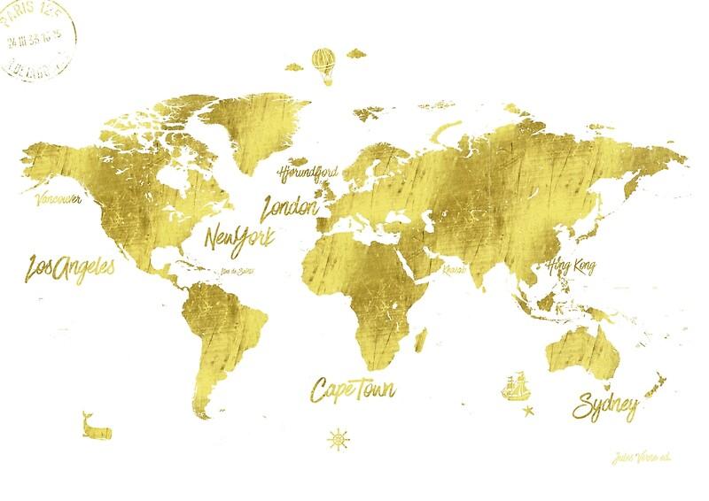Gold world map jules verne inspiring art prints by pranatheory gold world map jules verne inspiring by pranatheory sciox Gallery