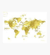 Gold world map Jules Verne inspiring Photographic Print