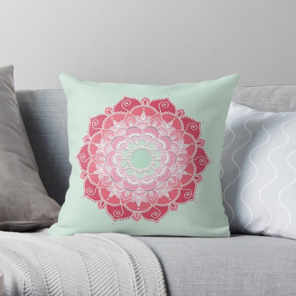 Ten Pointed Mandala (Red, Pink, and Light Green) Throw Pillow