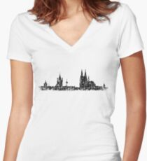 Köln Skyline Vintage Women's Fitted V-Neck T-Shirt