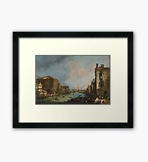Canaletto Bernardo Bellotto - The Grand Canal in Venice with the Rialto Bridge 1724 Framed Print