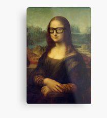 Hipster Glasses Mona Lisa - Leonardo da Vinci Metal Print