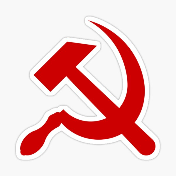A red hammer and sickle design from the naval ensign of the Soviet Union Sticker