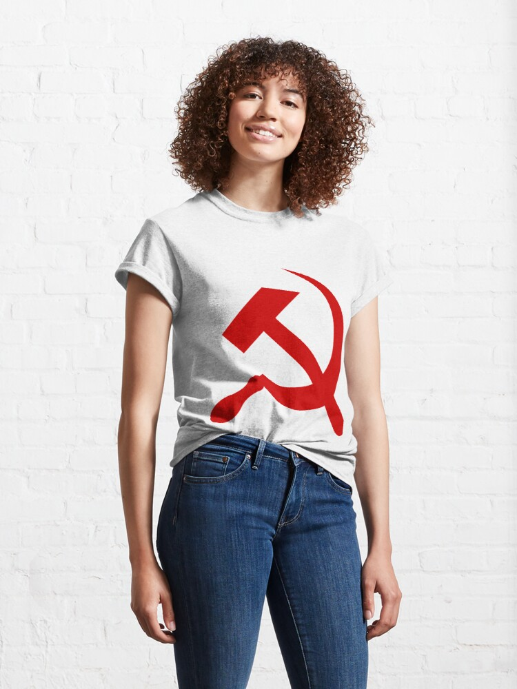 Alternate view of A red hammer and sickle design from the naval ensign of the Soviet Union Classic T-Shirt