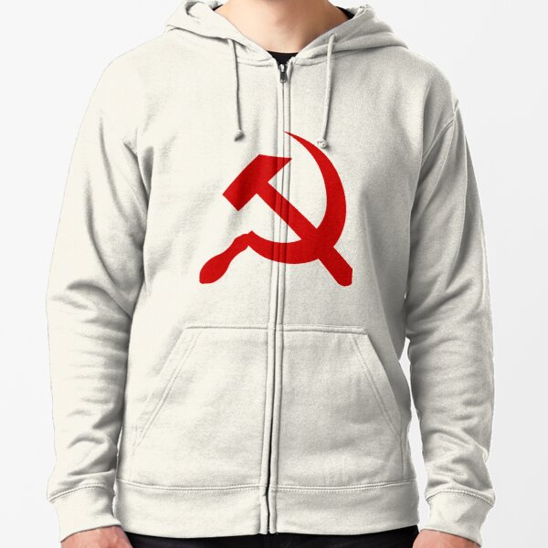 A red hammer and sickle design from the naval ensign of the Soviet Union Zipped Hoodie
