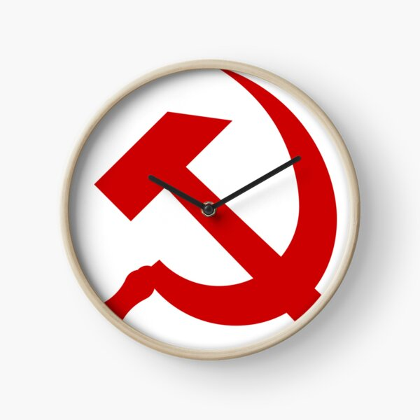 A red hammer and sickle design from the naval ensign of the Soviet Union Clock