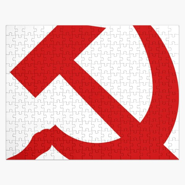 A red hammer and sickle design from the naval ensign of the Soviet Union Jigsaw Puzzle