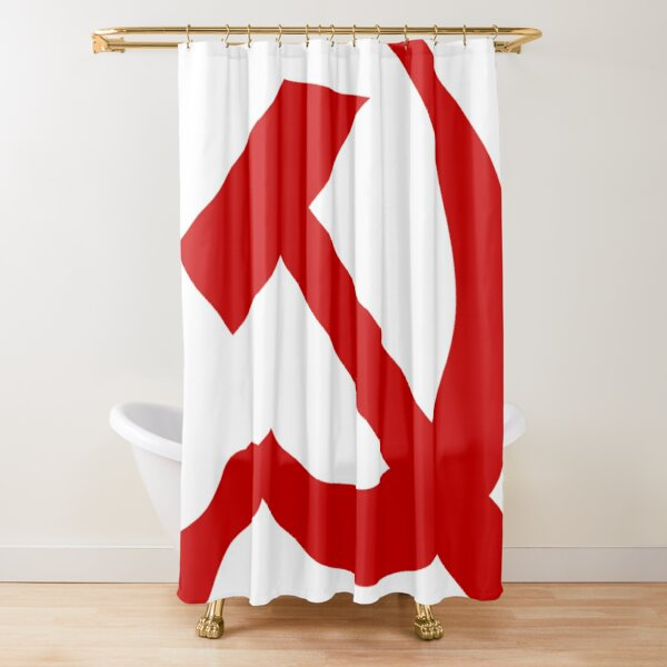 A red hammer and sickle design from the naval ensign of the Soviet Union Shower Curtain